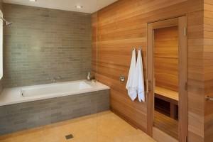 walk in shower and sauna